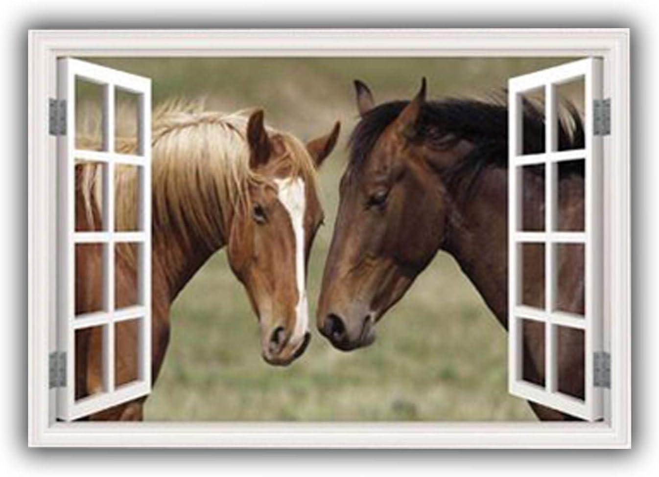 MySticky Horses 3D Fake Window Frame Removable Vinyl Peel & Stick Wall Decor Decal/Sticker (MYSW19-Large)