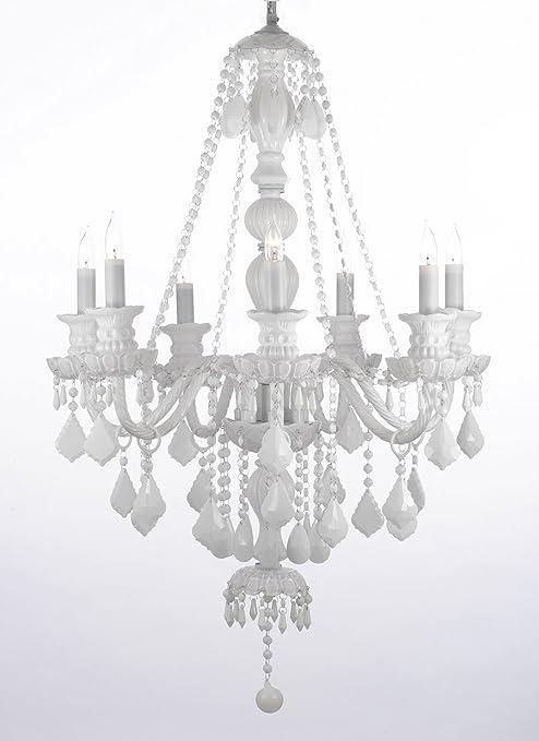 Amazon.com: Luz de candelabro de cristal de color blanco de ...