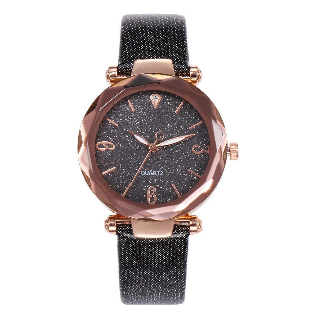 Women Wrist Watch, Fashion Starry Sky Rhinestone Band Round Quartz Watches Gift (D)