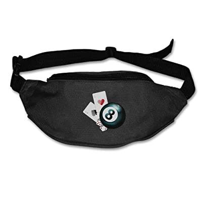 Unisex Pockets Poker And Dices Fanny Pack Waist / Bum Bag Adjustable Belt Bags Running Cycling Fishing Sport Waist Bags Black