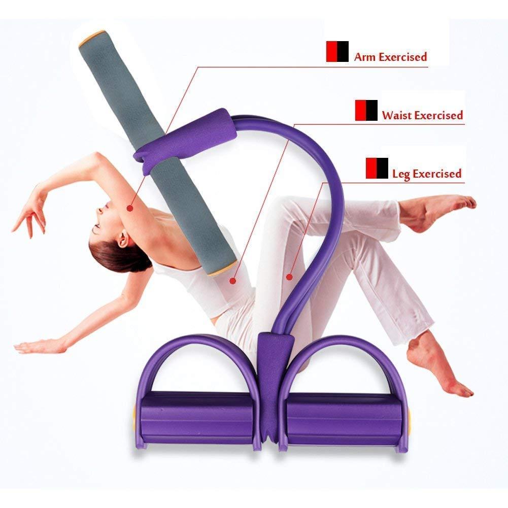 Sit-up Bodybuilding Expander Lila Elastische Zugseil Trainingsger/äte FIVE BEE Upgrade 4 Tubes Multifunktions-Leg-Exerciser Pedal Resistance Band