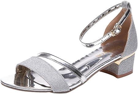 K-youth Sandalias Mujer Verano Lentejuelas Zapatos Cuña Tacon Alto Casuales Plataforma Tacones Altos Sandalias De Tacón Alto para Mujer Zapatilla con Punta Abierta Correa De Tobillo