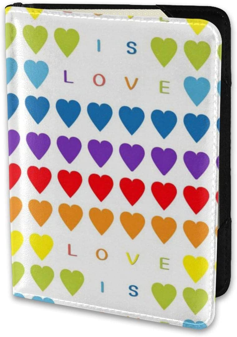Biahos Leather Passport Cover Love Rainbow Heart Wallet For Passport Case