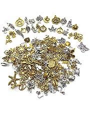 Nsiwem 200 stuks Tibetaanse bedels, voor het maken van sieraden, gemengde antieke zilveren bedels, doe-het-zelf-bedels, voor knutselen, accessoires voor sieraden maken, antiek zilver en goud