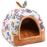 Hanshu 2 In 1 Pet House and Sofa Indoor Soft Warm Washable Igloo Pyramid Cat Dog Beds,(Colorful Owl, L)