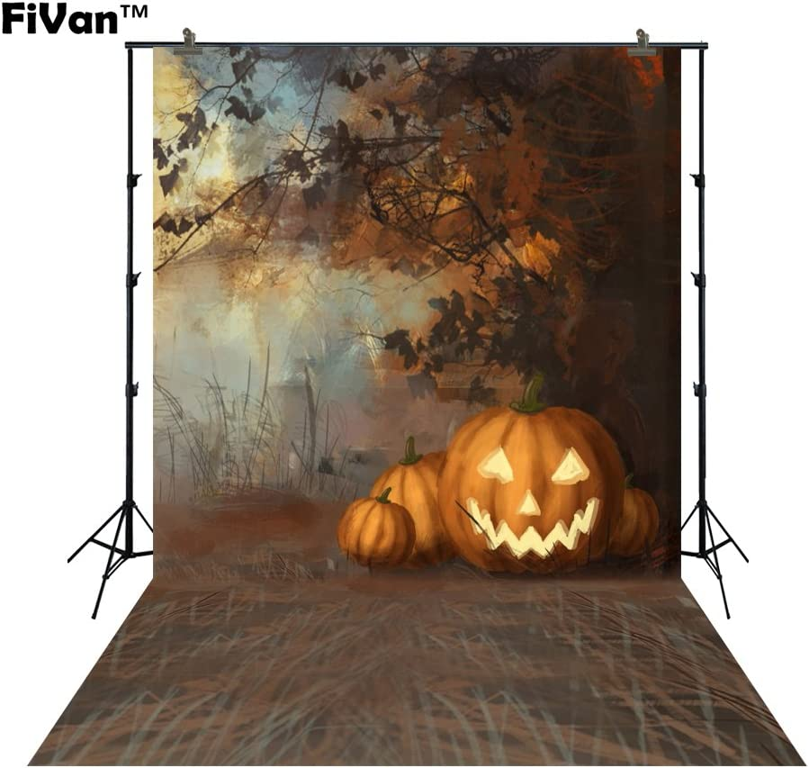Horror Night Hallowmas Themed Pictures Photo Backdrop Vinyl Plastic Cost-Effective Background for Party Decor FT5907