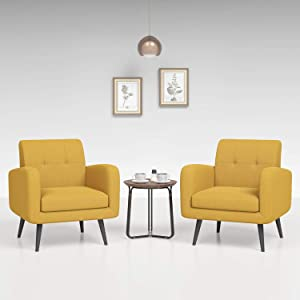 JustRoomy Mid-Century Modern Accent Chairs Upholstered Fabric Arm Chairs with Black Wooden Tapered Leg Removable Seat Cushion for Bedroom Living Room, Set of 2 (Yellow)