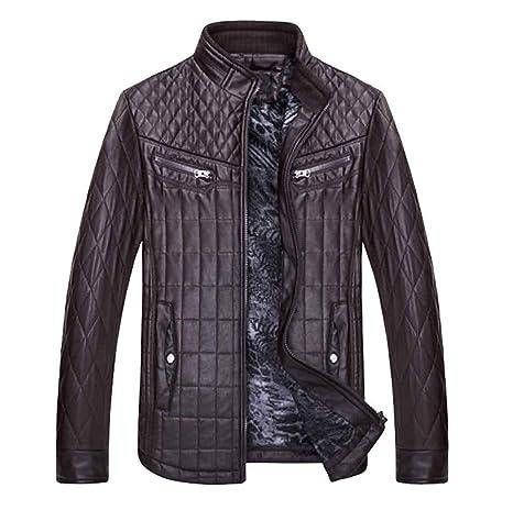 FuweiEncore Hombres PU Chaquetas de Cuero Abrigos Stand Collar Moda Motocicleta Otoño Invierno Chaquetas Hombres,
