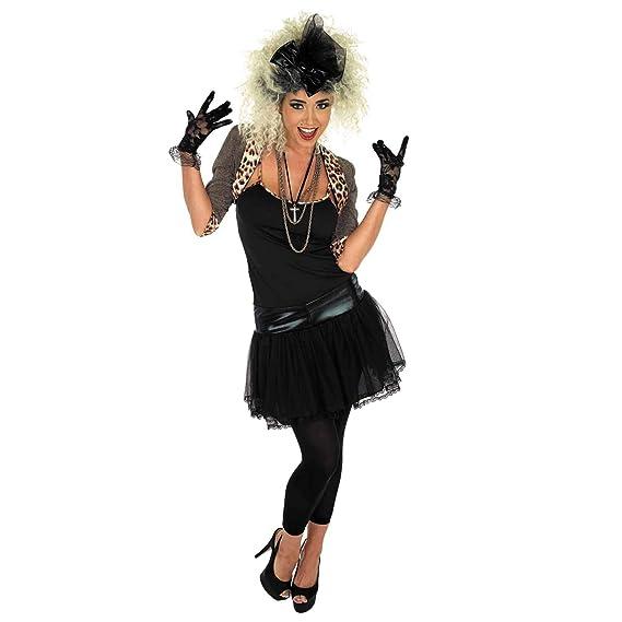 Fun Shack Negra Estrella Pop de los 80 Disfraz para Mujeres - L ...