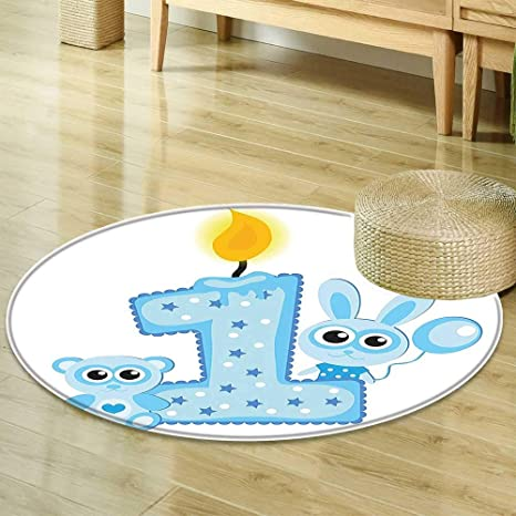 Mikihome Round Rugs For Bedroom 1st Birthday Decorations Boys Party Theme With A Cake Candle Rabbit