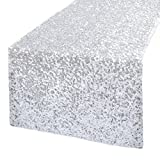 "Kevin Textile Sequins Decorative Glitter Halloween Banquet Sparkling Table Runner/Table Top Decoration, 14""x108"", Silver"