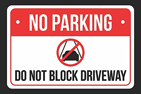 picture relating to Printable No Parking Signs identify No Parking Do Not Block Driveway Print Crimson, White and Black Awareness Parking Metallic Hefty Indicator - 1 Pack of Signs and symptoms, 12x18