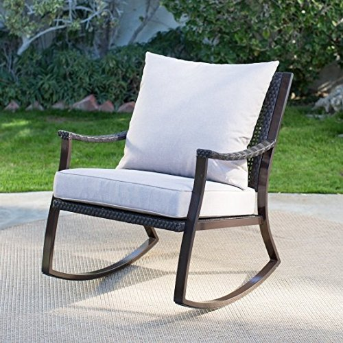 Premium Quality Patio Wicker Rocking Chair Wooden Furniture Chairs For Outdoor, Porch, Garden Deck, Beach Side And All Weather Seasons (Dark Brown)