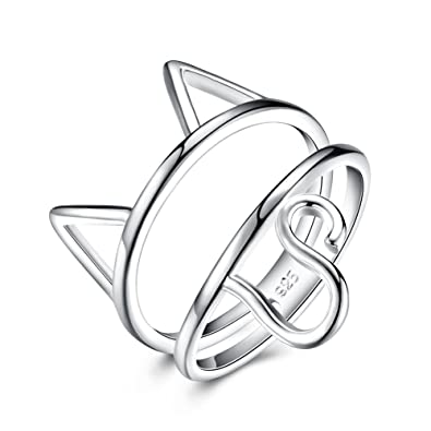 LZD Sterling Silver Plated Ring Womens Animal Cat B543 ...
