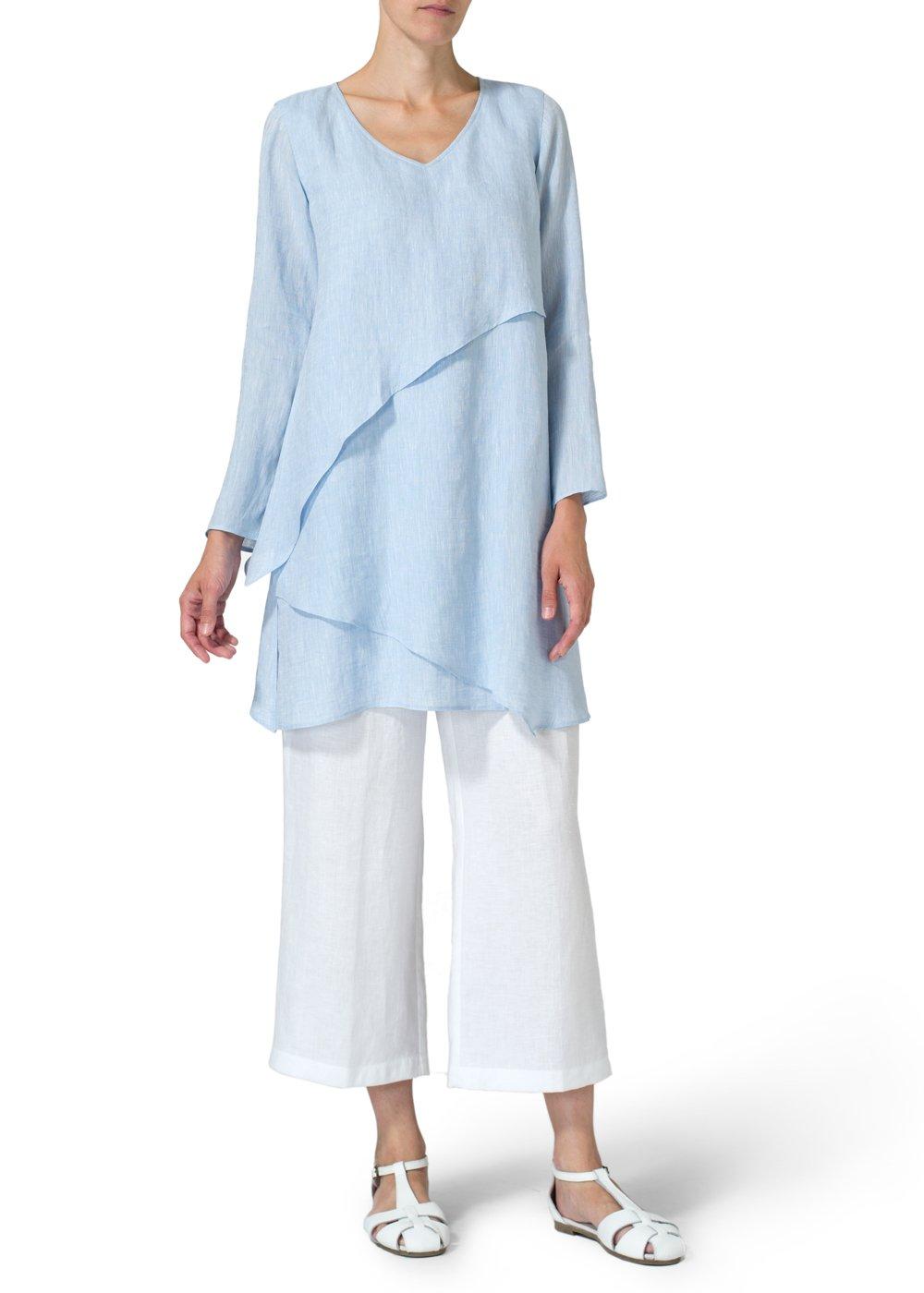 Vivid Linen Layering V neck Tunic-M-Two Tone Light Blue