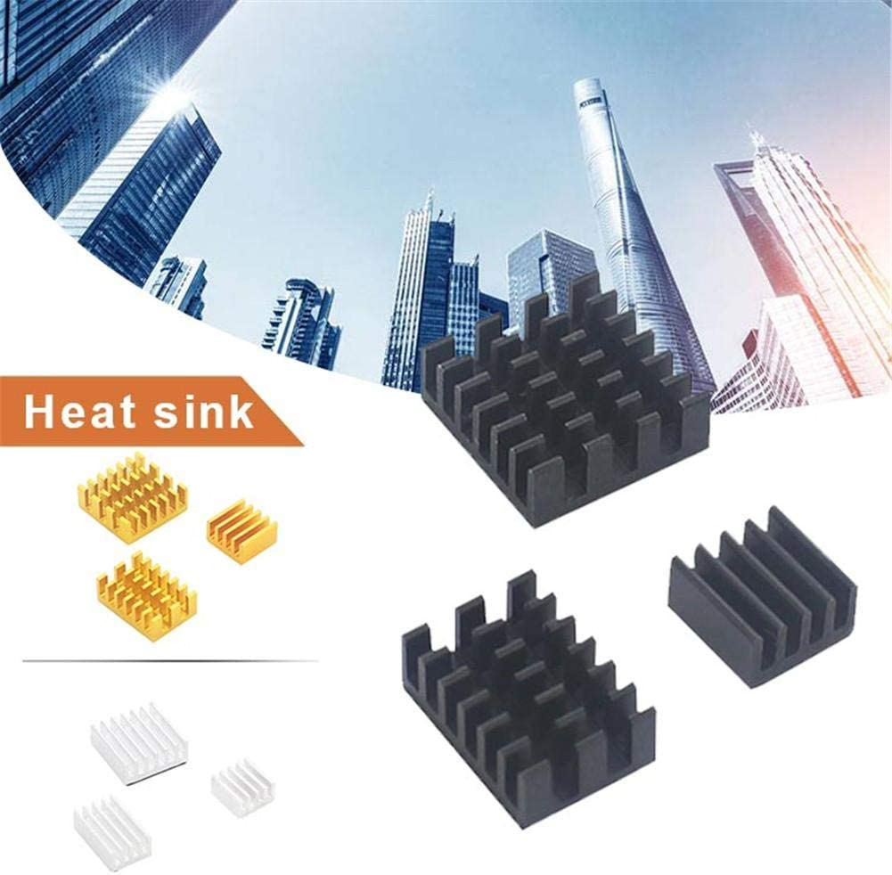 Grehod 3PCS Heat Sinks for Raspberry Pi 4B Aluminum Heat Sink Aluminum supportable Black, Silver, Golden