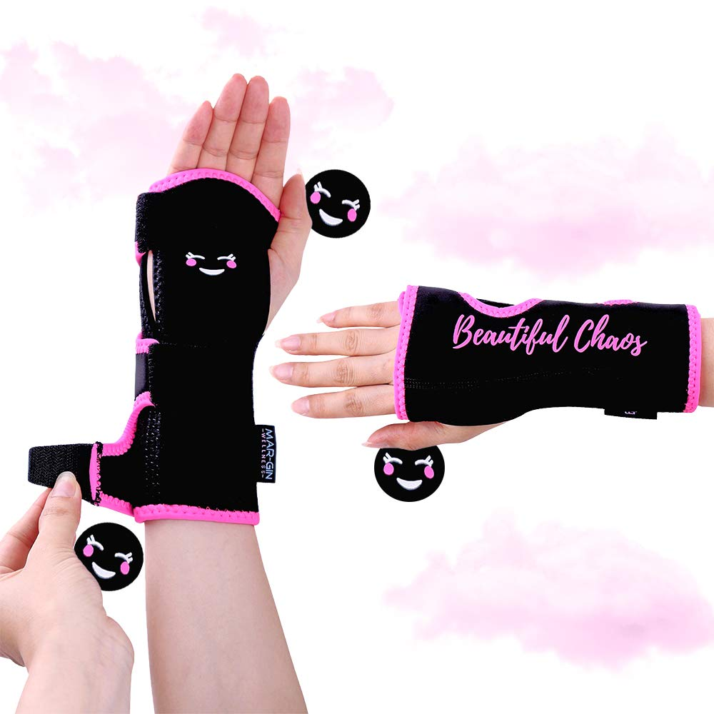 Night Wrist Brace Carpal Tunnel - Relief & Support by Margin Wellness-Removable Splint-Hand Brace Compression Light Weight Adjustable Breathable Fits Left or Right Hand Daytime & Nightime (Fun Pink),