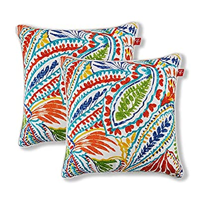 "Pcinfuns Set of 2 Patio Indoor/Outdoor All Weather Decorative Throw Pillow Cover Cushion Case for Replacement 18"" x 18""-Phoenix - 100% Spun Polyester. Package includes:2 pcs 18 x 18 inches square toss pillow covers, insert NOT included. Zipper closure easy for pillow covers replacement. - patio, outdoor-throw-pillows, outdoor-decor - 61 9jHDLCnL. SS400  -"