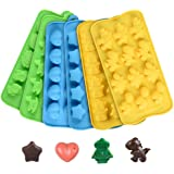Candy Chocolate Molds Ice Tray - Hard Candy Silicone Molds Including Stars, Hearts, Dinosaurs, Robots and Assorted Cute Designs Nonstick BPA Free Set of 6