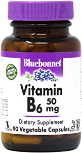Bluebonnet Nutrition Vitamin B6 Vegetable Capsules, 50 mg, for Cardiovascular and Nervous System Health, Soy Free, Gluten Free, Kosher, Dairy Free, Vegan, Non-GMO, 90 Vegetable Capsules, 90 Servings