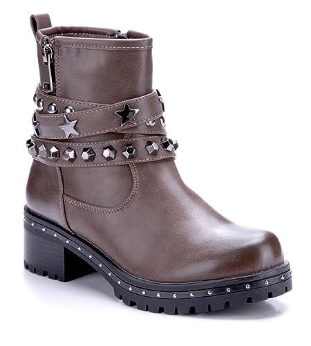 475431ea8c4d53 Schuhtempel24 Damen Schuhe Boots Stiefel Stiefeletten Khaki Blockabsatz  Nieten Reißverschluss 5 cm