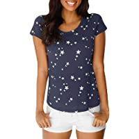 JiaMeng Moda Impresa Camiseta Blusa Tops de Verano Suelta Manga Corta Estrella Mujer Camiseta Manga Corta Camiseta de Fitness Deportiva de Manga Corta para Mujer