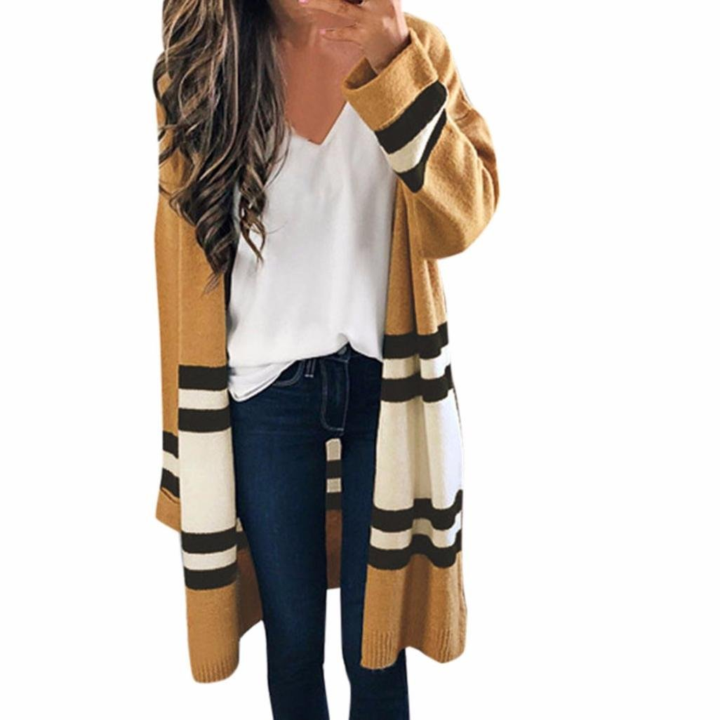 Orangeskycn Women Cardigan, Coat Long Sleeve Loose Casual Striped Sweater Casual Blouse (Khaki, One Size)