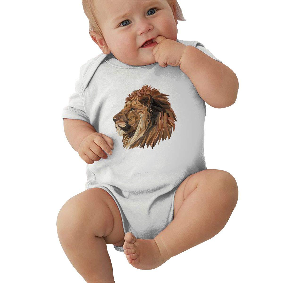 Newborn Baby Boys Bodysuit Short-Sleeve Onesie Lion Big Cat Lion AABB Print Jumpsuit