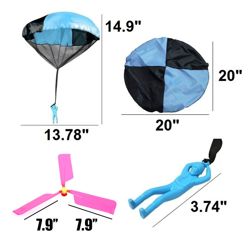 Qiwoo 5 Pack Flying Toy Parachute Balloon Helicopter Toys for Kids 4 Colors Mini No Tangle Throwing Flying Parachute Army Man Sports  Outdoor Play for Childrens Boys Girls Teens Party Favors by Qiwoo (Image #4)