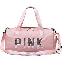 Fenfen-snb Bolsa de Deporte para Deportes con Compartimiento para Zapatos y Bolsillo Mojado, Bolsa de Viaje para Hombres y Mujeres (Color : Rosado)