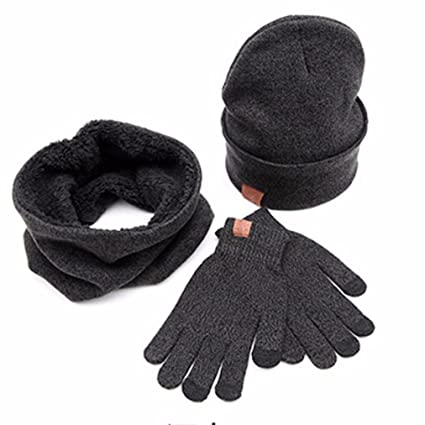 d66ed7c3023 Image Unavailable. Image not available for. Color  Smdoxi 3pc Winter Soft Cable  Knit Beanie Skull Hat Long Scarf Gloves Set For Ladies Men
