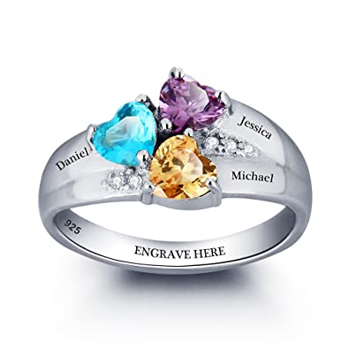 6efd649a11 Diamondido Personalized Mom Rings with 3 Children Simulated Birthstones and Names  Engraved Family Jewelry Gift (