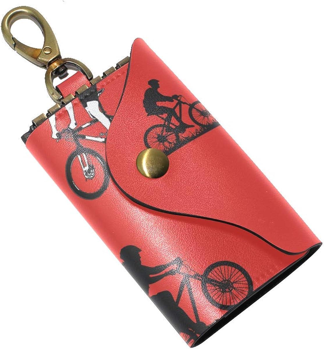 KEAKIA Riding A Bike Leather Key Case Wallets Tri-fold Key Holder Keychains with 6 Hooks 2 Slot Snap Closure for Men Women