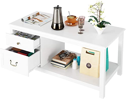 HOMECHO White Coffee Table with 2 Drawer Storage Shelf Open Shelves Large Modern Cocktail Tables for Living Room, 2-Tier Wood, HMC-MD-018