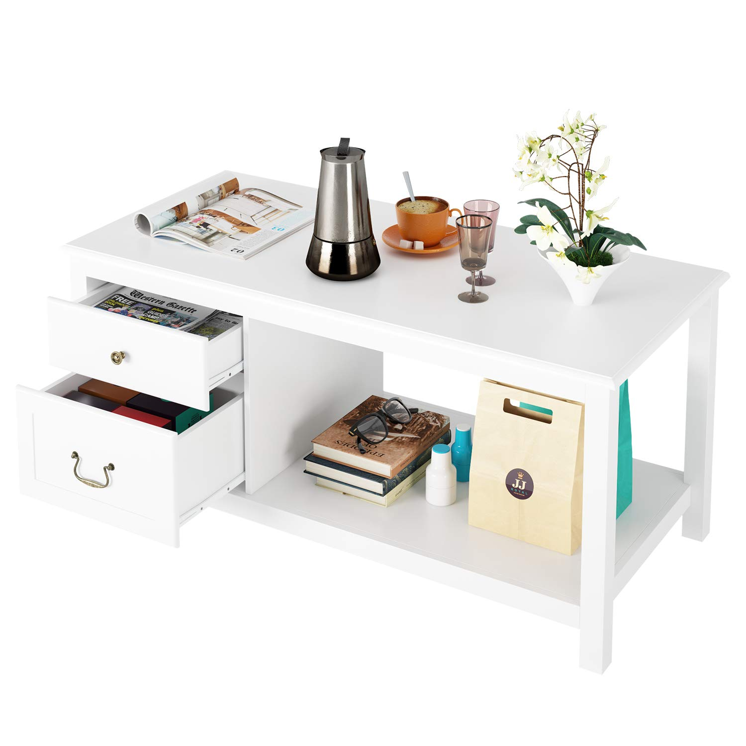 HOMECHO White Coffee Table with 2 Drawer Storage Shelf Open Shelves Large Modern Cocktail Tables for Living Room, 2-Tier Wood, HMC-MD-018 by HOMECHO
