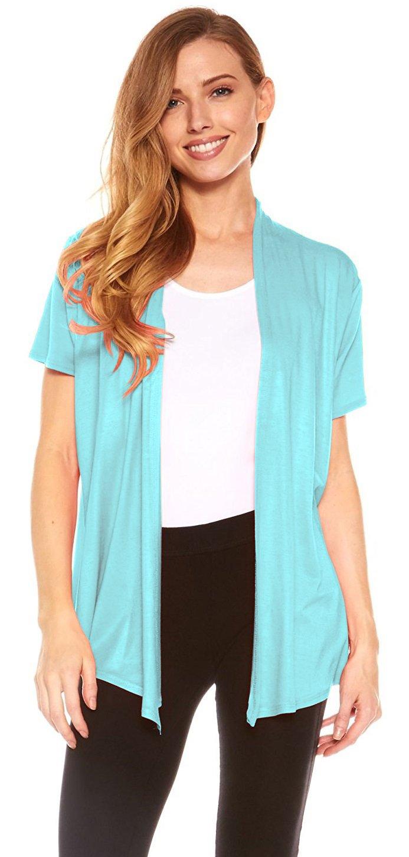 Red Hanger Cardigans for Women - Short Sleeve Womens Open Cardigan Sweaters (Aqua-XL)
