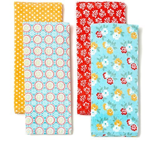 The Pioneer Woman Spring Floral Kitchen Towel Set, 4pk, Print Retro Kitchen Towels