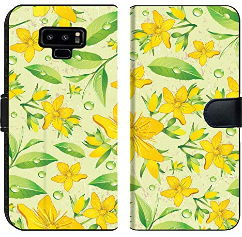 Liili Premium Samsung Galaxy Note9 Flip Micro Fabric Wallet Case Elegance Seamless Beige and Hypericum with Green Tea Image ID 11289025