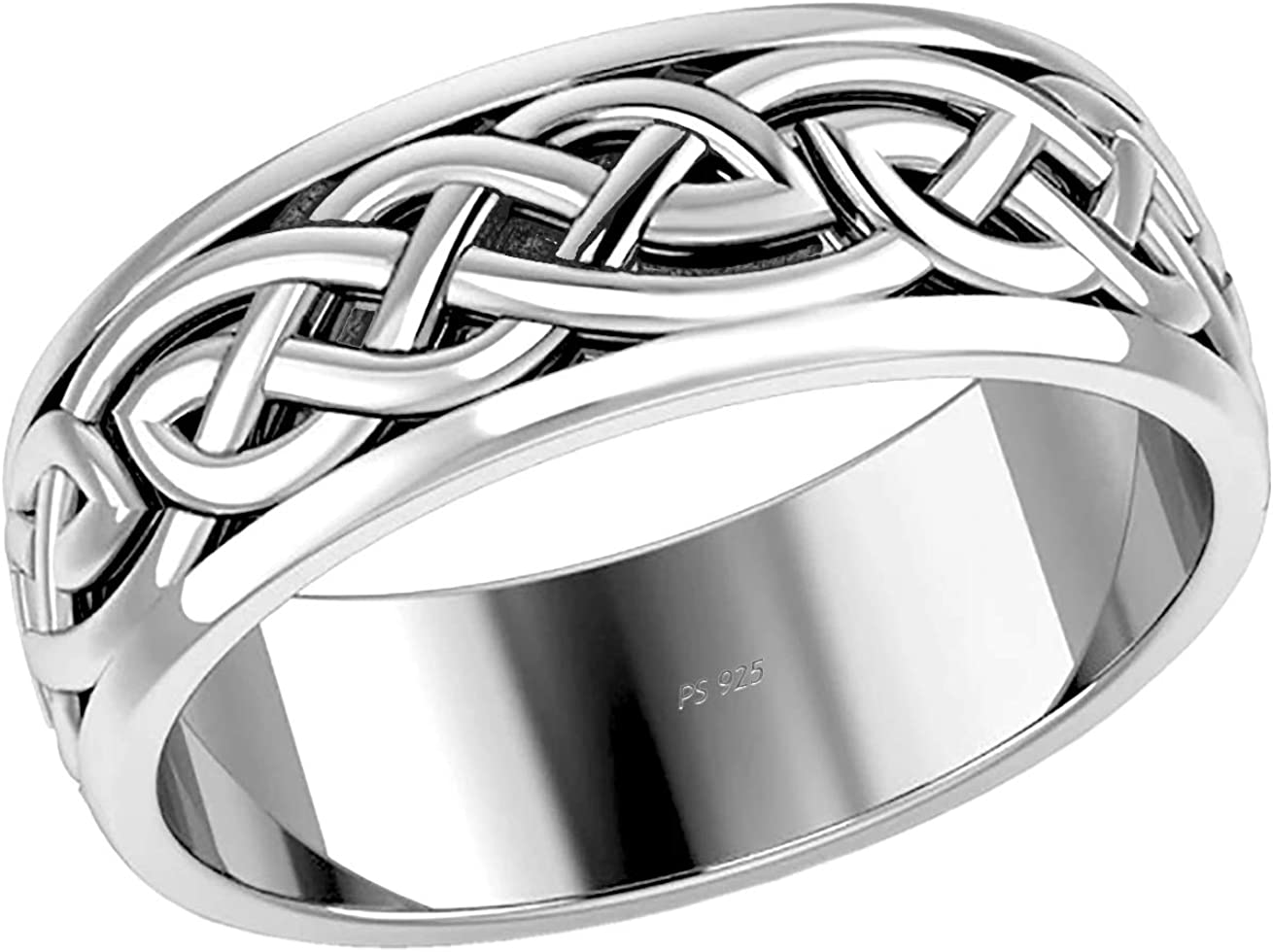 US Jewels And Gems Men's 925 Sterling Silver Irish Celtic Knot Wedding Spinner Ring Band