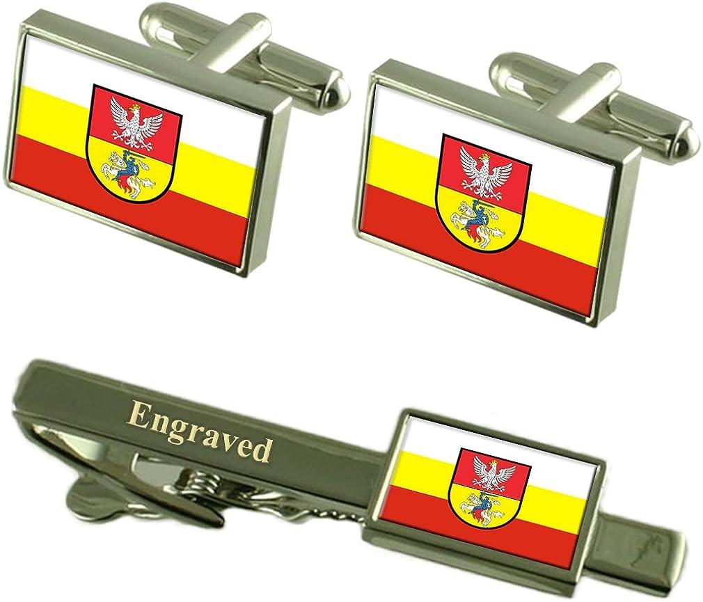 Bialystok City Poland Flag Cufflinks Engraved Tie Clip Set