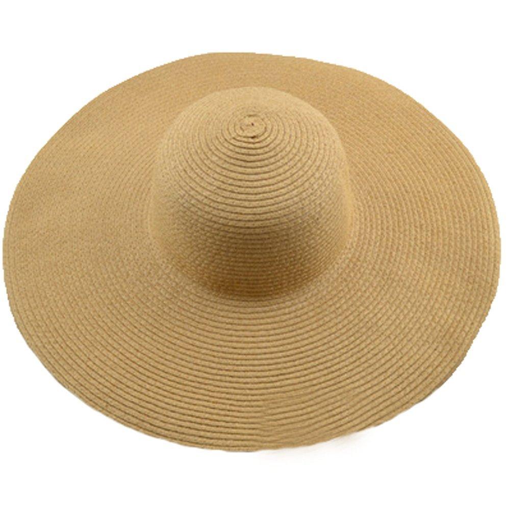 AngelCity Brides Womens Beach Hat Striped Straw Sun Hat Floppy Big Brim Hat (Khaki)