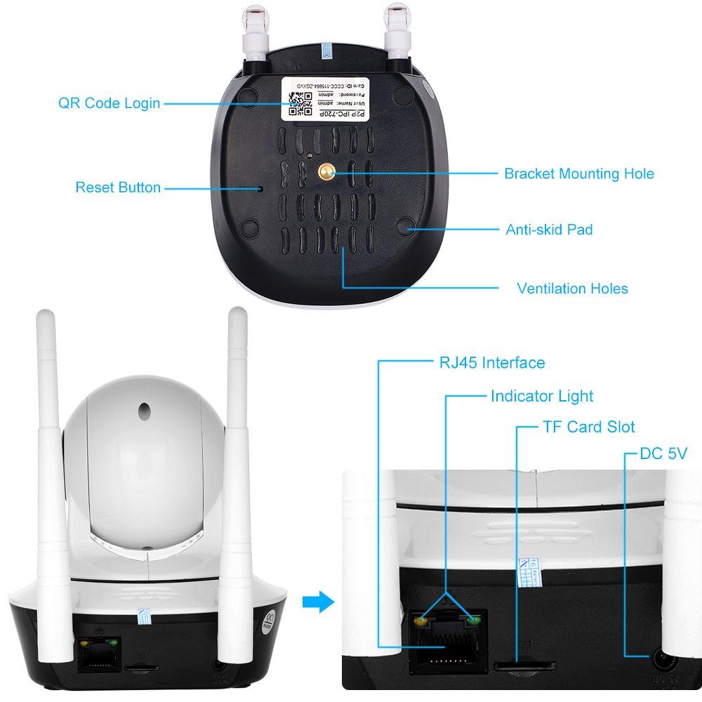 2.7 Pulgada CMOS 3.6 mm Soporte de lente PTZ Deux Voies Audio de Visi/ón Tel/éfono APP Control TF C/ámara IP en Fil WiFi Pan Tilt HD 1080P 2.0MP 1