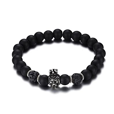 Amazon Com Mengpa Lava Bead Stone Bracelet For Men Women Rock Lion
