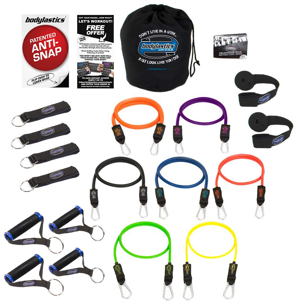 Bodylastics 19 Pcs Resistance Bands Set - Strong Man Resistance. This Leading Exercise Band Kit Includes 7 of Our Anti-Snap Exercise Tubes, Heavy Duty Components, Carry Bag and 44 Online Workouts