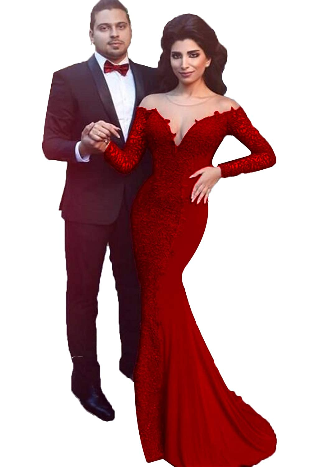Burgundy SDRESS Women's Lace Applique Mermaid Formal Dress Long Sleeve Illusion Neck Evening Gowns