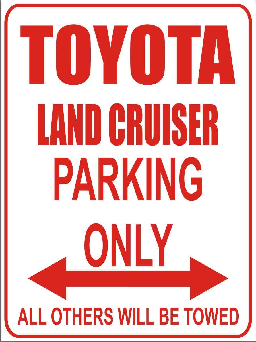 Parking Only Parkplatz 32x24 cm Toyota Land Cruiser Alu Dibond Parkplatzschild Parking Only- Wei/ß-Rot INDIGOS