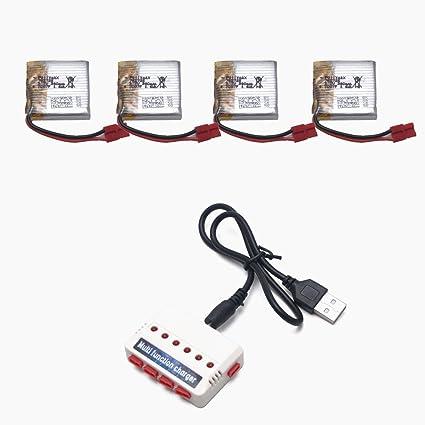 Amazon.com: 4 piezas 3,7 V 380 mAh baterías y cargador para ...