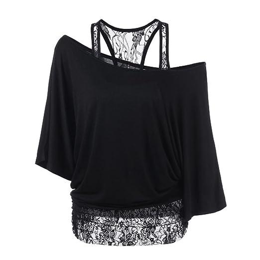 43c434db937 Kangma Women Lace Loose Casual Long Sleeve T-Shirt Tops Blouse Tunics Black  at Amazon Women s Clothing store
