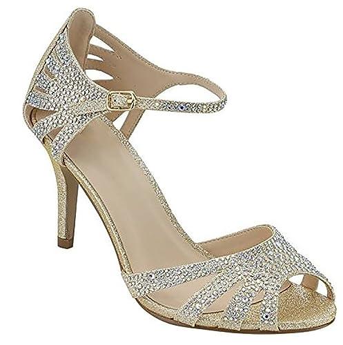 3088db19188c MVE Shoes Women s Party Pumps-Pointed Low Kitten Heel-Rhinestone  Shoe-Classic Slip