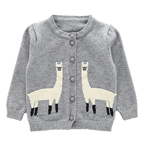 an Sweaters Cute Alpaca Pattern Long Sleeve Knitted Outwear (18-24months, Grey) (Hand Knitted Cardigans)